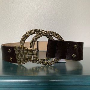 Chico's Black Leather Belt with Gold Buckle S/M